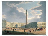 The Alexander Column and the Army Headquarters in St Petersburg  Printed Lemercier  Paris  c1840