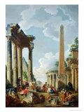 Architectural Capriccio with a Preacher in the Ruins  c1745
