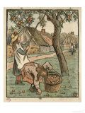 Gathering Apples  from Travaux Des Champs  Engraved by Lucien Pissarro