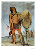 Comanche Warrior with a Shield  Lance and Bow and Arrows  c1835