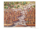 Battle Between Indian Tribes  from Brevis Narratio  Engraved by Theodore de Bry