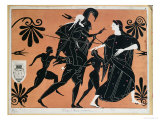 Ancient Greek Vase: The Flight of Aeneas from Troy  with Sons and Carrying His Father Anchises
