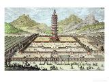 Porcelain Tower of Nanking  Plate 12  Entwurf Einer Historischen Architektur  Engraved Delsenbach