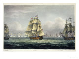HMS Victory Sailing For French Line  Battle of Trafalgar  1805  Engraved  T Sutherland  Pub1820