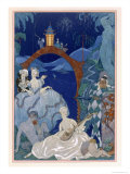 Ball under the Blue Moon  Illustration For Fetes Galantes by Paul Verlaine
