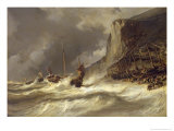Storm on the Coast at Etretat  Normandy  1851
