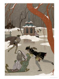 Ice Skating on the Frozen Lake  Illustration For Fetes Galantes by Paul Verlaine