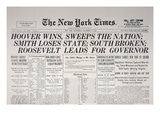Front Page of 'The New York Times'  7th November  1928 (Litho)