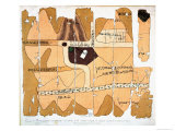 The Turin Papyrus  Reproduction of Ancient Egyptian Map of Gold Mines  c1300 BC