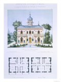 Small Country House Near Paris  Engraved by Walter  Plate 5  Architecture Pittoresque et Moderne