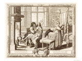 Husband with Wife Seated on Knee by Fireplace  Bosse  Abraham
