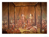 The O-Kee-Pa Self-Torture Religious Ceremony of the Mandan Tribe  from a Painting of c1835