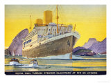 Postcard Depicting the Royal Mail Turbine Steamer Alcantara at Rio de Janeiro  1930S