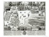 Map of Civil War England and a View of Prague  1632