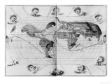 World Map Tracing Magellan's World Voyage  from the Portolan Atlas of the World  c1540