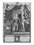 Queen Marie de Medicis and Louis XIII as a Child  Engraved by Nicolas de Mathoniere