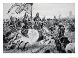 The Battle of Crecy  26th August 1346  Illustration from The History of the Nation
