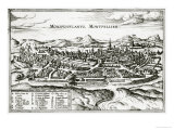 Map of Montpellier  from Civitates Orbis Terrarum by Georg Braun