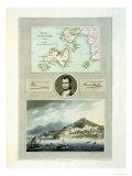 Map of Elba  View of Porto Ferraio with Portrait of Napoleon and Signature  c1815