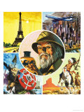 Montage Including Eiffel Tower  Aeroplane  Viking Warrior  Indian and Archaeologist