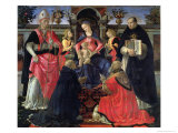 Madonna and Child Enthroned with St Dionysius  Aeropagita  Domenic  Clement and Aquinas  c1483