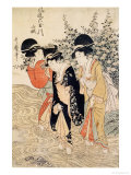 Three Girls Paddling in a River  Fashionable Six Jewelled Rivers  Yamashiro Province  Pub 1790