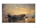 St George and the Dragon: Zeppelin L15 in the Thames  1916  &#39;The Naval Front&#39; Maxwell  1920