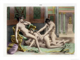 Ancient Times  Illustration of an Orgy  Plate 19 of De Figuris Veneris