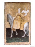 Mounted Lady Holding a Heron on One Hand  Upper Rhein Are  c1440-45