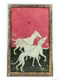 Three Hunting Dogs  One of a Set of Playing Cards  Courtly Hawking  Upper Rhein Are  c1440-45