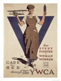 For Every Fighter a Woman Worker  1st World War Ywca Propaganda Poster