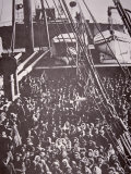 The Crowded Deck of an Immigrant Ship Entering New York Harbour  c1905