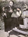 Bonnie Parker Posing Tough with a Gun and Cigar  c1934