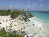 Tourists Enjoy the Beach Near the Mayan Ruins of Noh Hoch