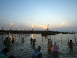 Hindu Devotees Bathe in the River Ganges on a Hindu Festival in Allahabad  India  January 14  2007