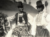 Two Men in Hungarian Traditional Dresses Richly Embroidered