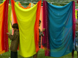 A Washerman with His Children Hang Clothes