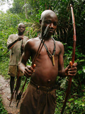 Pygmy Young Men Armed with Bows and Arrows Hunt