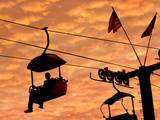 An Illinois State Fair Visitor Rides the Sky Ride