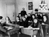 Polish Women are Shown in a Classroom at the Marie Curie School for Girls in Scotland
