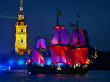 The Shtandart Frigate with Scarlet Sails Floats on the Neva River