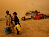 A Boy  7  and His Sister  5  Sell Water (One Glass for Us 2 Cents) Outside a Circus