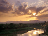 Sunset on the Omo River  Near the Karo Village  Ethiopia