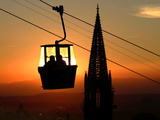 A Couple Sit in a Gondola in Freiburg  Southwestern Germany