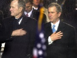 President Bush and His Father  Former President Bush  Put Their Hand Over Their Hearts