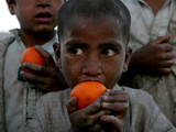Refugee Boys Eat Tangerines at a Small Refugee Camp