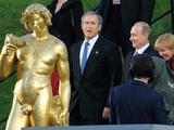 US President George W Bush  Russian President Vladimir Putin  Russian First Lady Lyudmila Putin