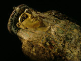 Gilded Mummy with Greek Spiral Curls and Traditional Egyptian Motifs  Bahariya Oasis  Egypt