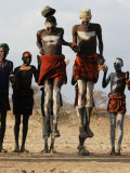Men Wearing Traditional Body Paint in Nyangatom Village Dance  Omo River Valley  Ethiopia