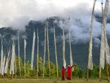 Monks with Praying Flags  Phobjikha Valley  Gangtey Village  Bhutan